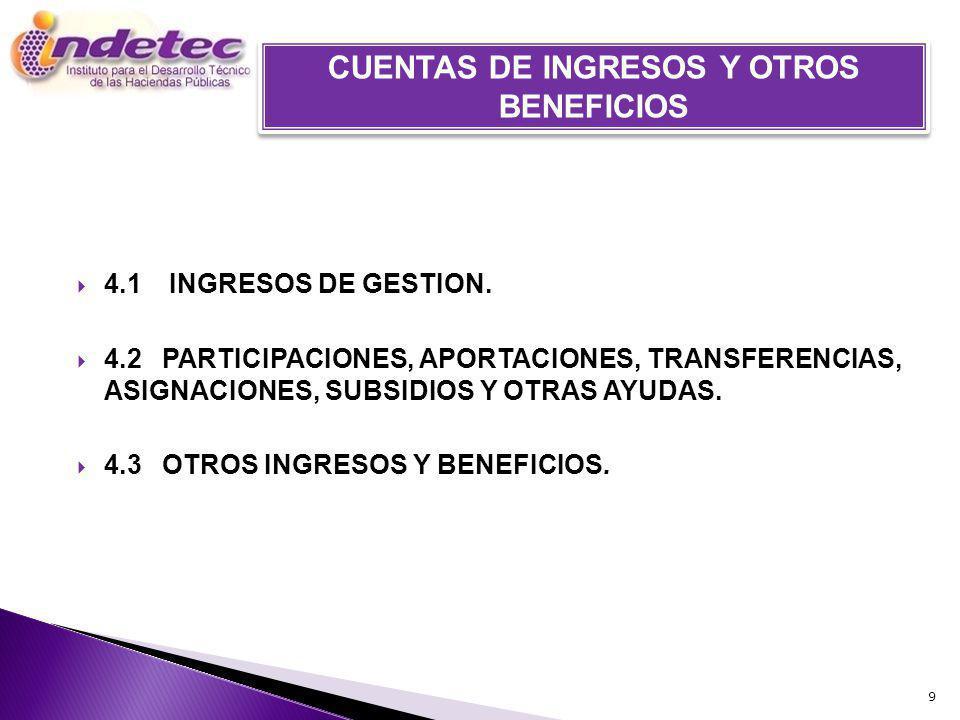 CUENTAS DE INGRESOS Y OTROS BENEFICIOS