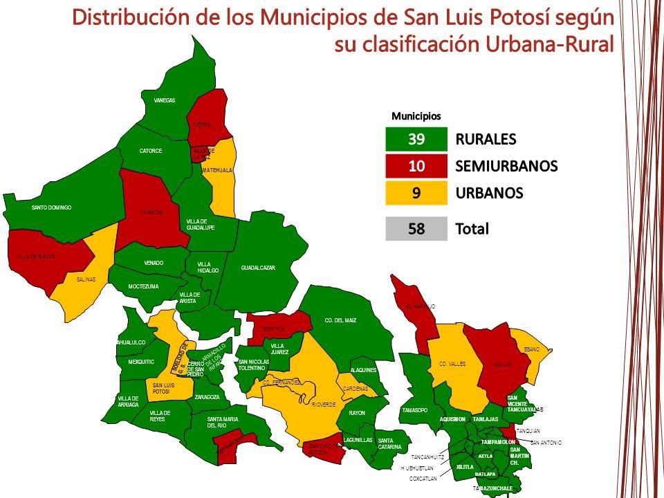 Distribución de los Municipios de San Luis Potosí según