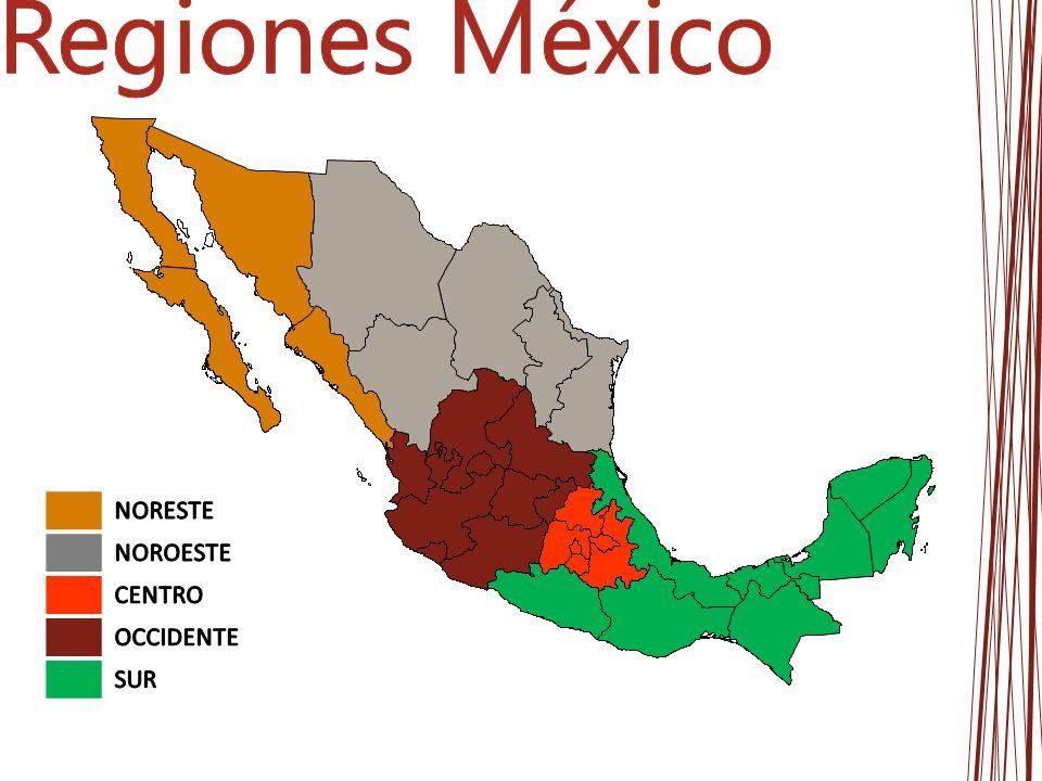 Regiones México NORESTE NOROESTE CENTRO OCCIDENTE SUR