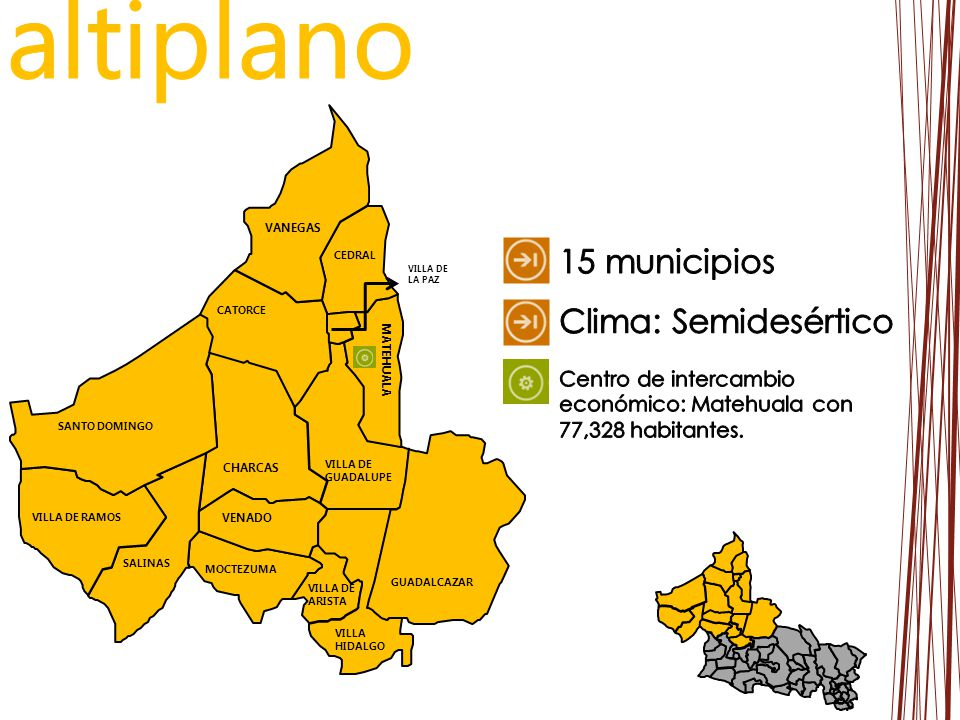 altiplano 15 municipios Clima: Semidesértico
