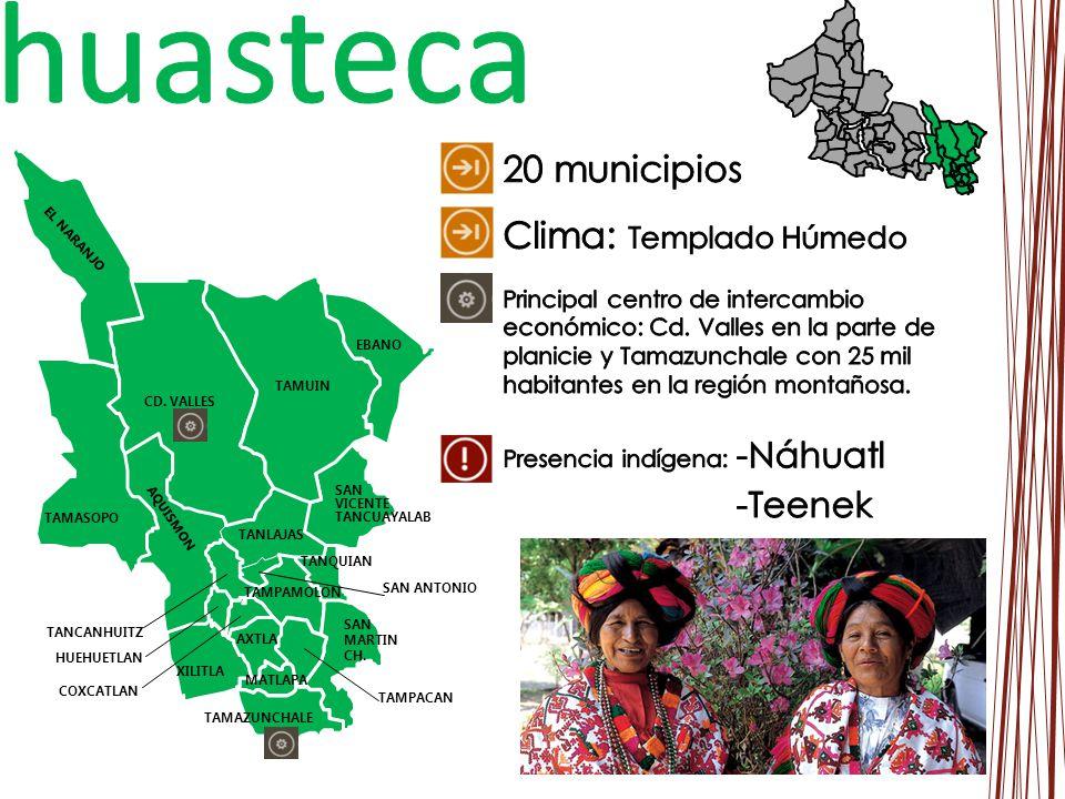 huasteca 20 municipios Clima: Templado Húmedo -Náhuatl -Teenek