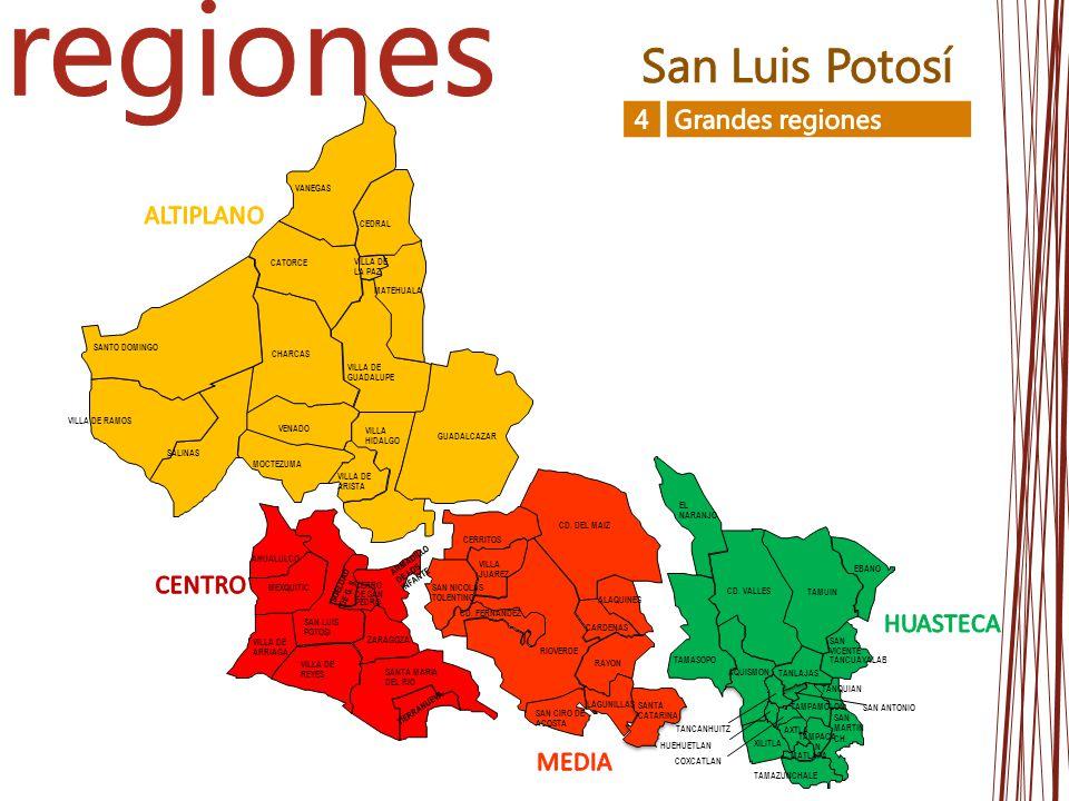 regiones San Luis Potosí 4 Grandes regiones ALTIPLANO CENTRO HUASTECA
