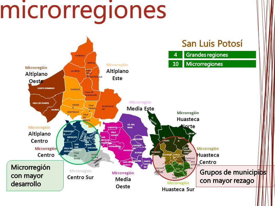 microrregiones San Luis Potosí Microrregión con mayor desarrollo
