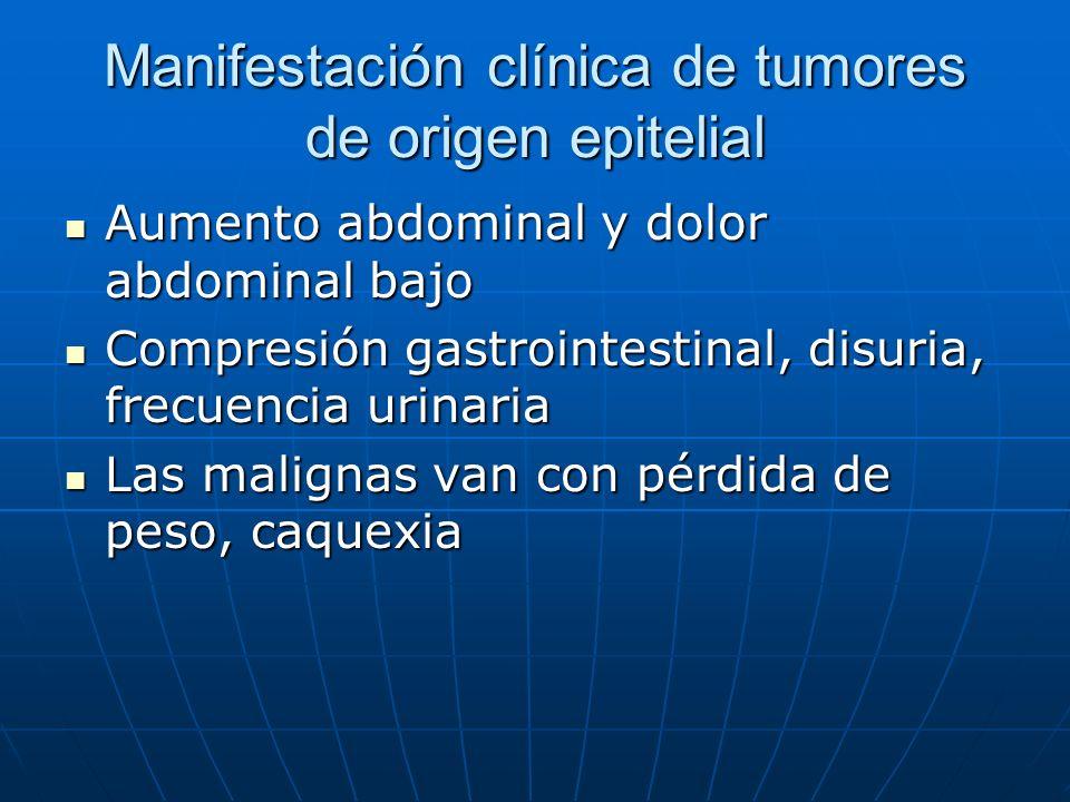 Manifestación clínica de tumores de origen epitelial