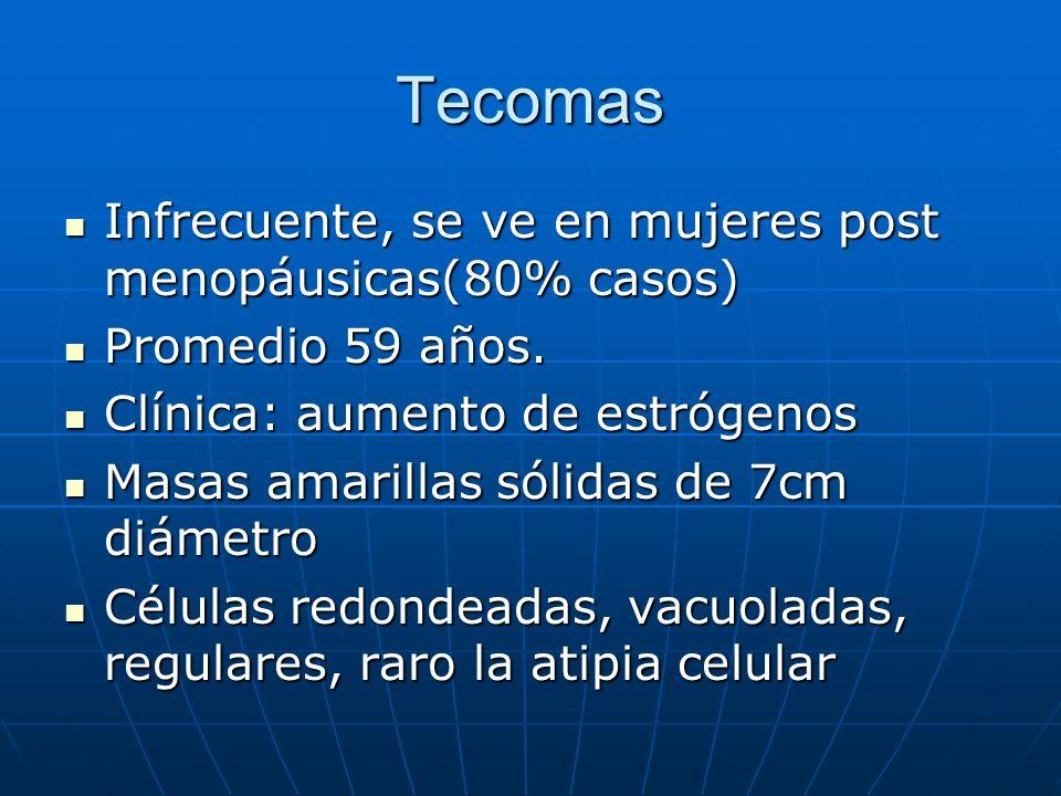 Tecomas Infrecuente, se ve en mujeres post menopáusicas(80% casos)