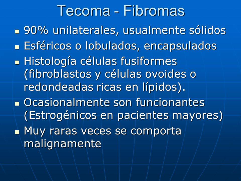 Tecoma - Fibromas 90% unilaterales, usualmente sólidos