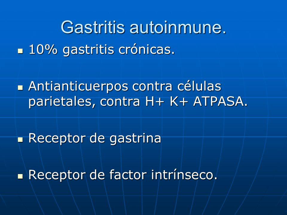 Gastritis autoinmune. 10% gastritis crónicas.