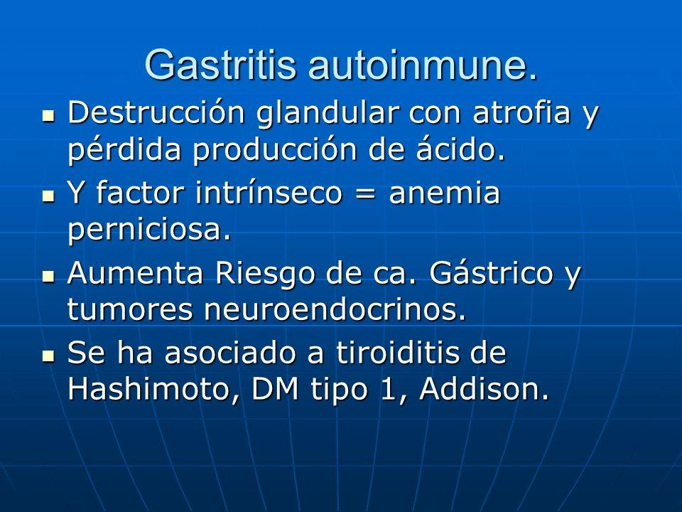 Gastritis autoinmune. Destrucción glandular con atrofia y pérdida producción de ácido. Y factor intrínseco = anemia perniciosa.