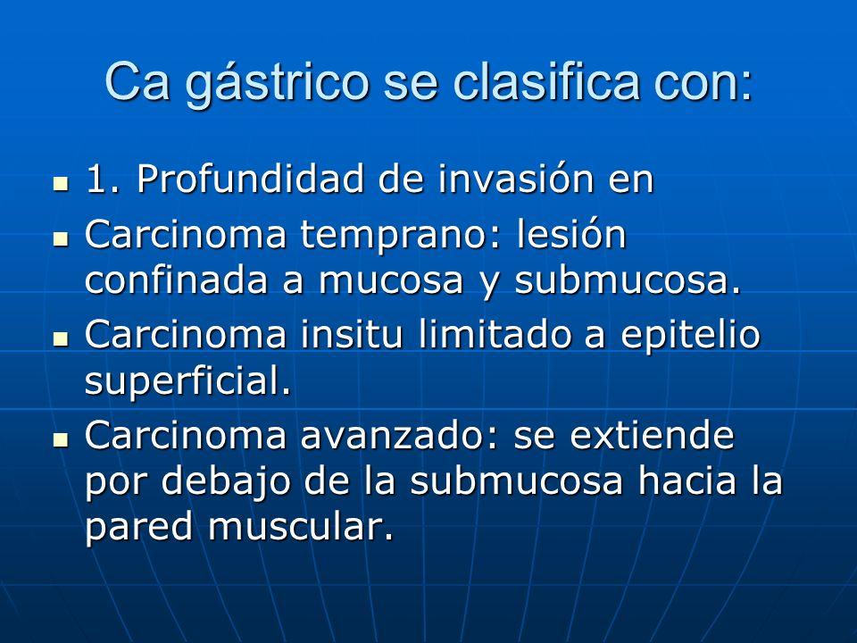 Ca gástrico se clasifica con: