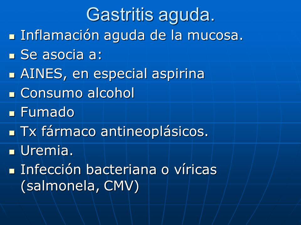 Gastritis aguda. Inflamación aguda de la mucosa. Se asocia a: