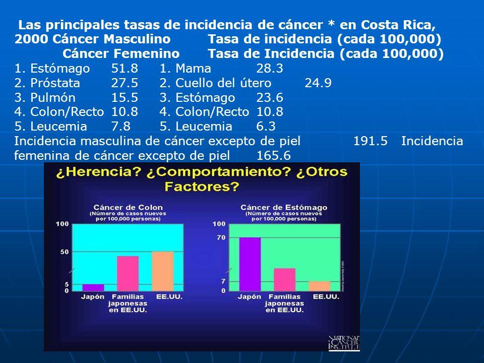 Las principales tasas de incidencia de cáncer