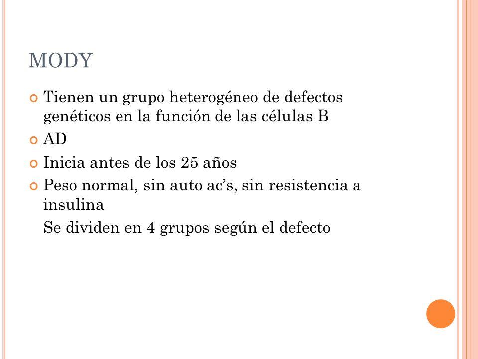 MODY Tienen un grupo heterogéneo de defectos genéticos en la función de las células B. AD. Inicia antes de los 25 años.