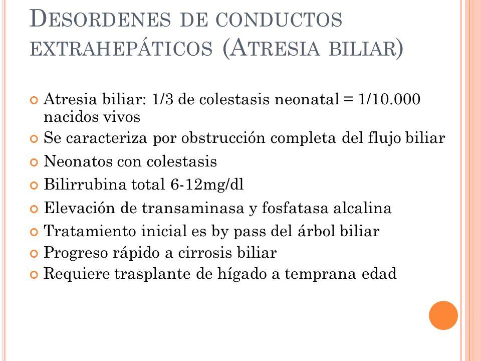 Desordenes de conductos extrahepáticos (Atresia biliar)