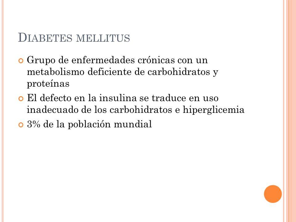 Diabetes mellitus Grupo de enfermedades crónicas con un metabolismo deficiente de carbohidratos y proteínas.