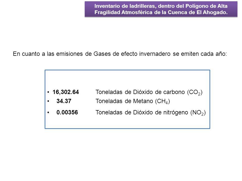 16,302.64 Toneladas de Dióxido de carbono (CO2)