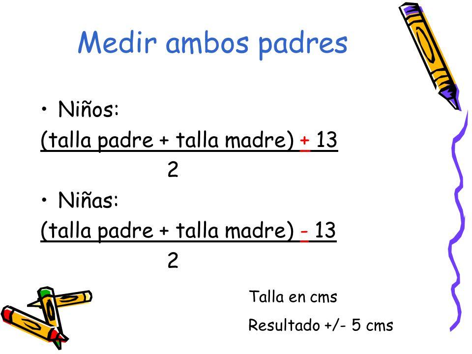 Medir ambos padres Niños: (talla padre + talla madre) + 13 2 Niñas: