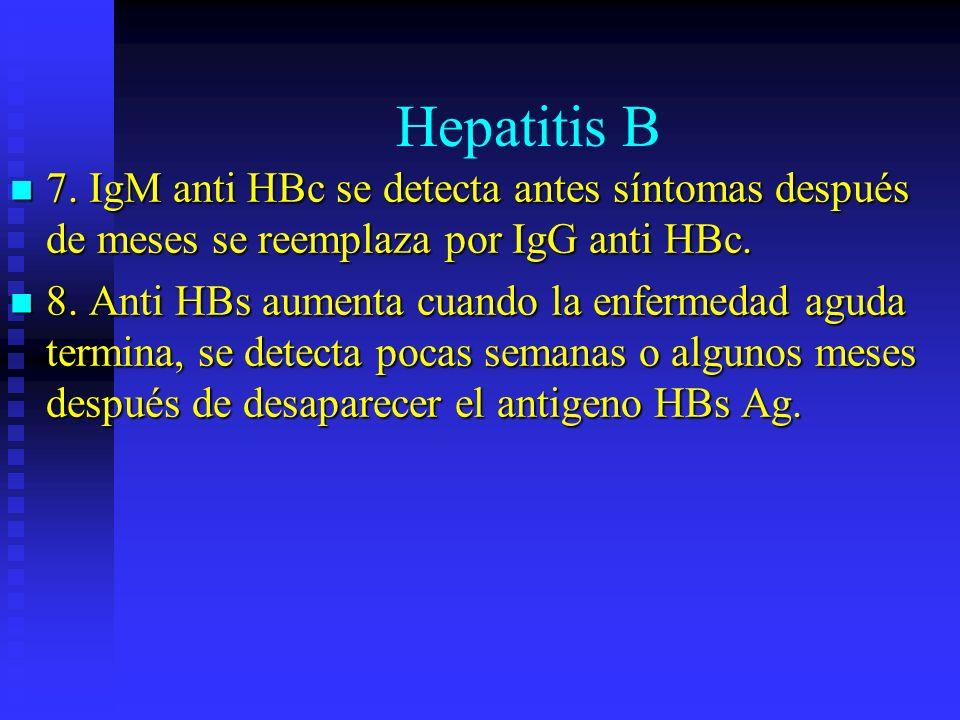 Hepatitis B7. IgM anti HBc se detecta antes síntomas después de meses se reemplaza por IgG anti HBc.