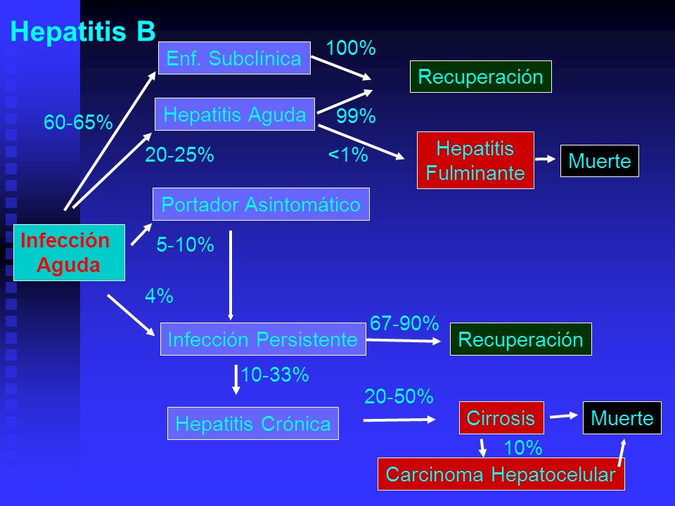 Hepatitis B 100% Enf. Subclínica Recuperación Hepatitis Aguda 99%
