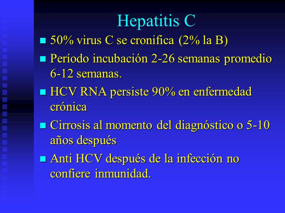 Hepatitis C 50% virus C se cronifica (2% la B)