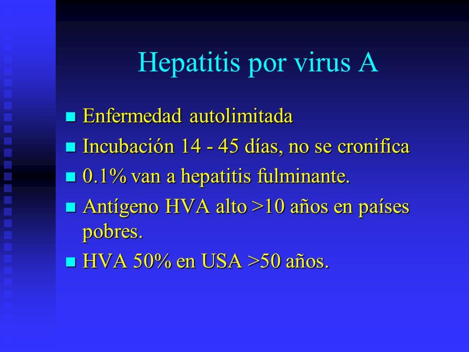 Hepatitis por virus A Enfermedad autolimitada