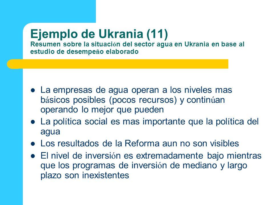 Ejemplo de Ukrania (11) Resumen sobre la situación del sector agua en Ukrania en base al estudio de desempeño elaborado