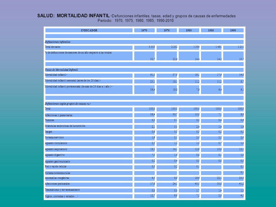SALUD: MORTALIDAD INFANTIL 1/Defunciones infantiles, tasas, edad y grupos de causas de enfermedades Período: 1970, 1975, 1980, 1985, 1990-2010