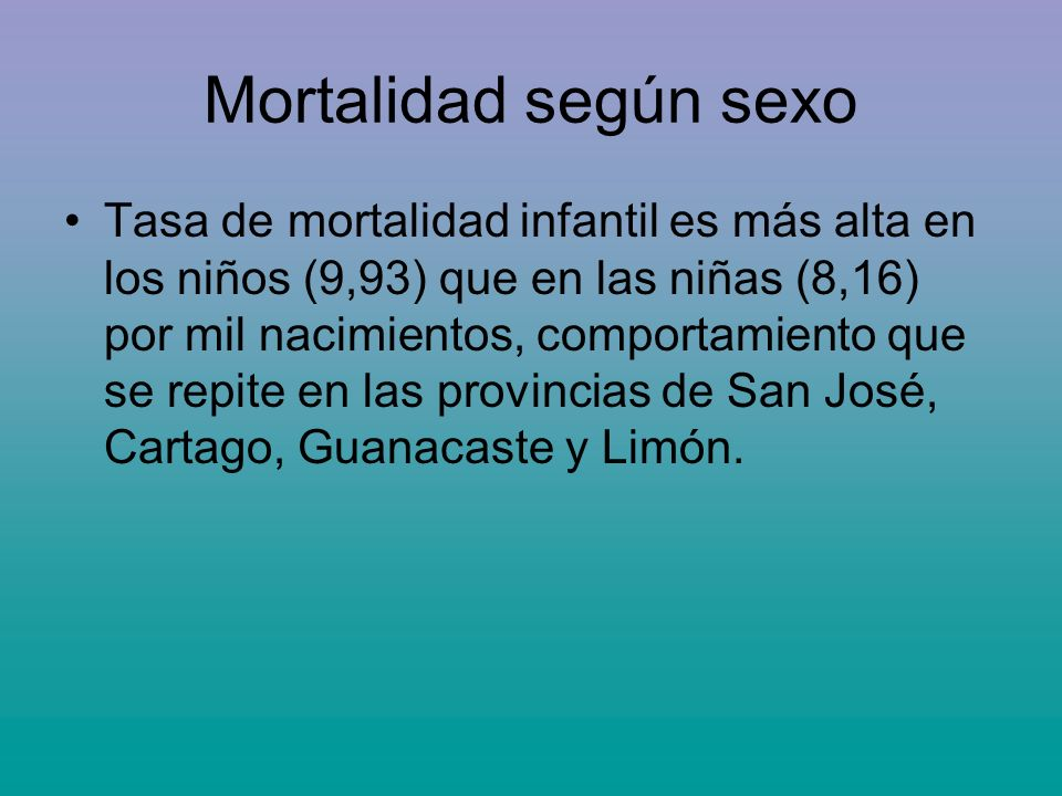 Mortalidad según sexo