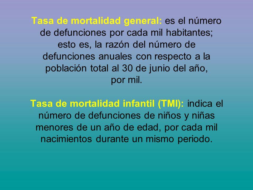 Tasa de mortalidad general: es el número de defunciones por cada mil habitantes; esto es, la razón del número de defunciones anuales con respecto a la población total al 30 de junio del año, por mil.