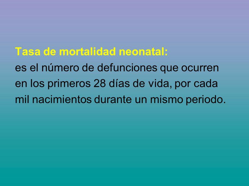 Tasa de mortalidad neonatal: es el número de defunciones que ocurren en los primeros 28 días de vida, por cada mil nacimientos durante un mismo periodo.