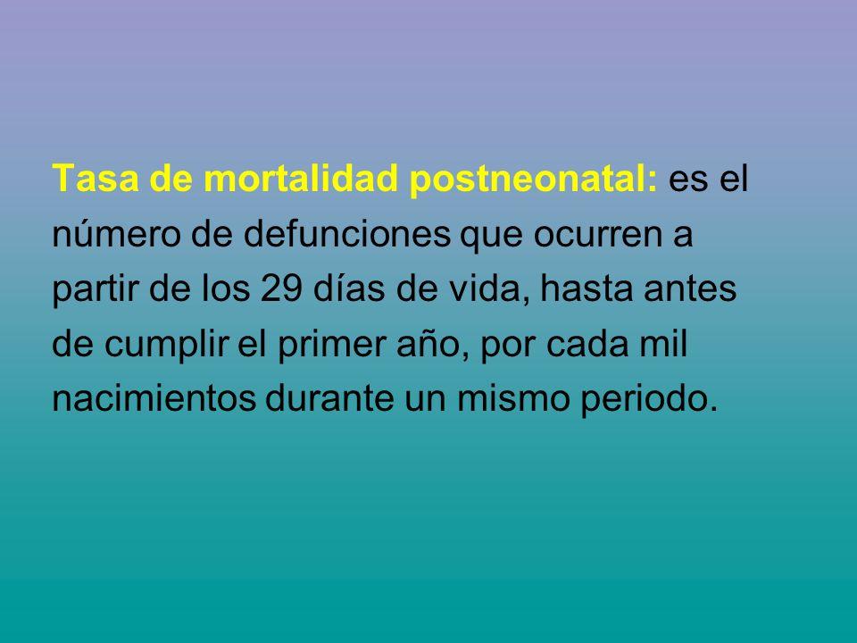 Tasa de mortalidad postneonatal: es el número de defunciones que ocurren a partir de los 29 días de vida, hasta antes de cumplir el primer año, por cada mil nacimientos durante un mismo periodo.