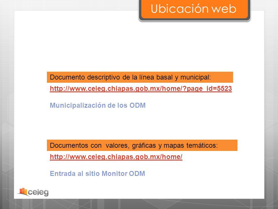 Ubicación web Documento descriptivo de la línea basal y municipal: