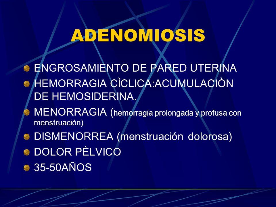 ADENOMIOSIS ENGROSAMIENTO DE PARED UTERINA