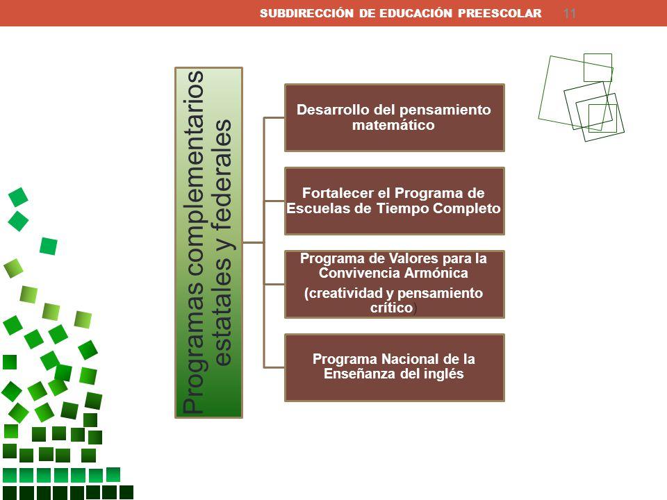 Programas complementarios estatales y federales