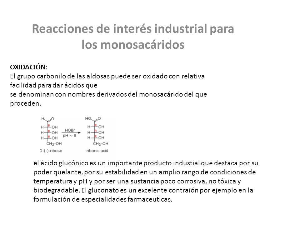 Reacciones de interés industrial para los monosacáridos