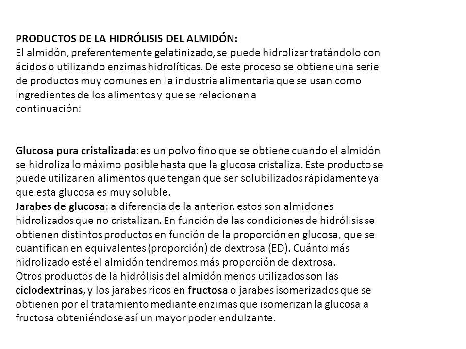 PRODUCTOS DE LA HIDRÓLISIS DEL ALMIDÓN: