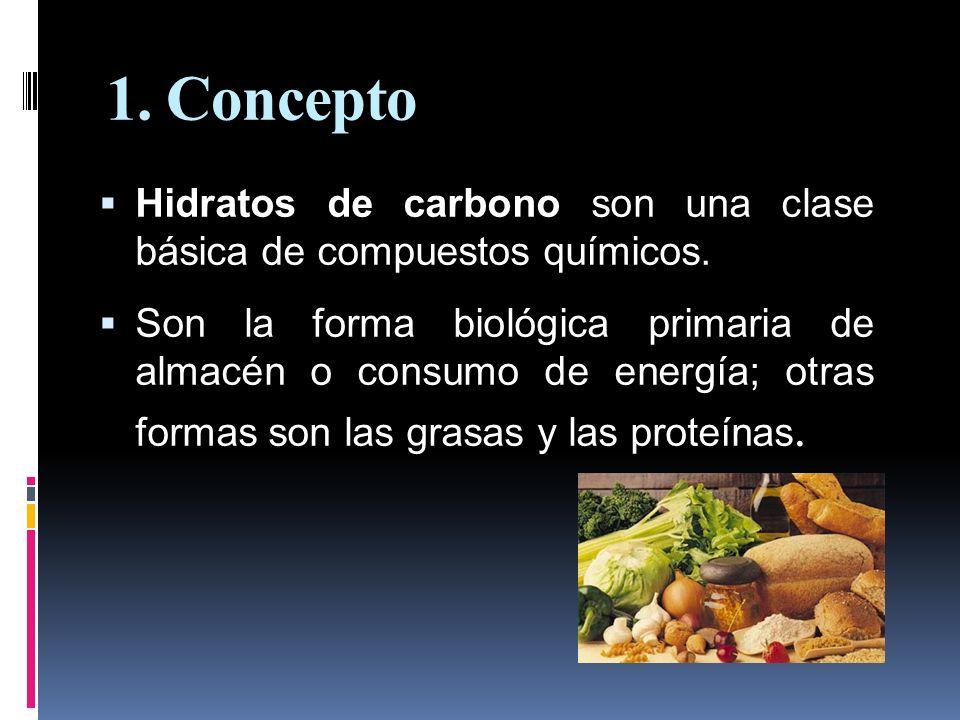 1. Concepto Hidratos de carbono son una clase básica de compuestos químicos.