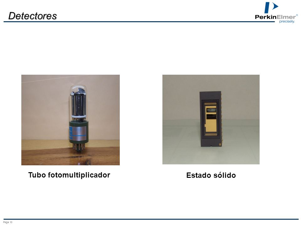 Detectores Tubo fotomultiplicador Estado sólido Page 10