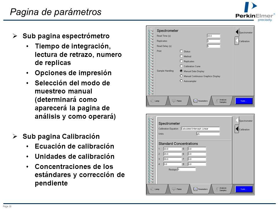 Pagina de parámetros Sub pagina espectrómetro