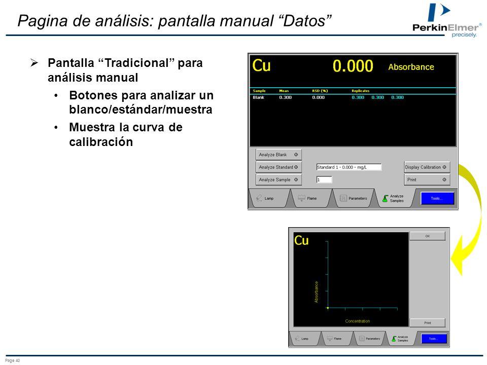 Pagina de análisis: pantalla manual Datos
