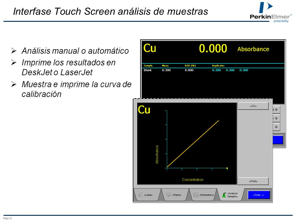 Interfase Touch Screen análisis de muestras