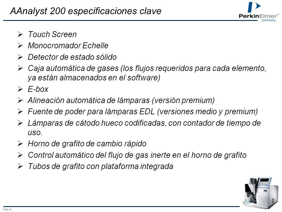 AAnalyst 200 especificaciones clave
