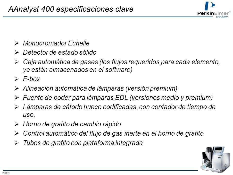 AAnalyst 400 especificaciones clave