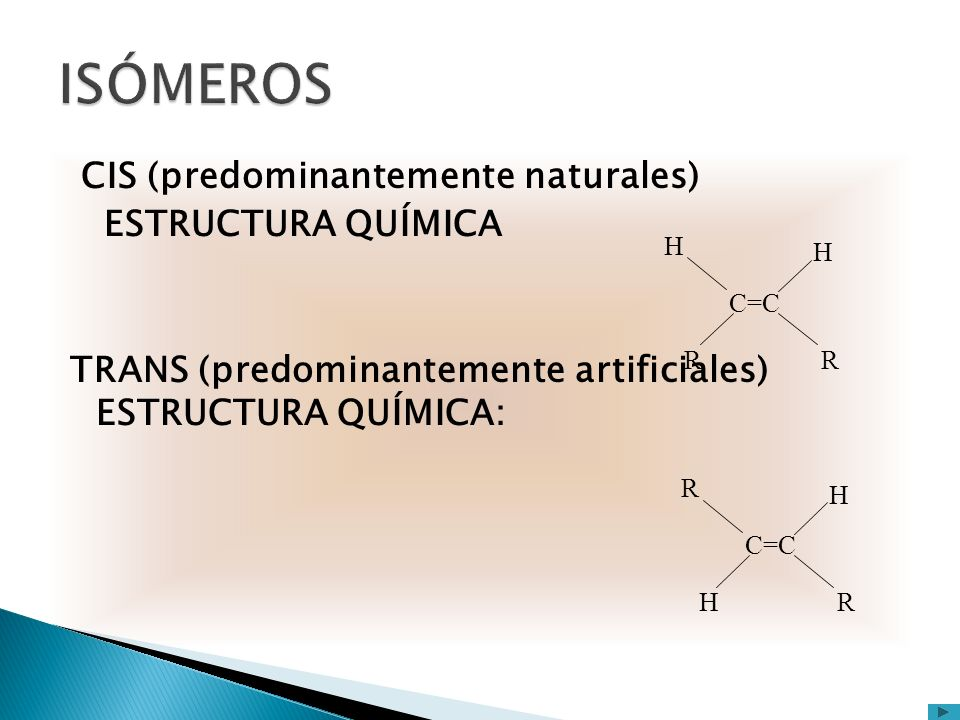 ISÓMEROS CIS (predominantemente naturales) ESTRUCTURA QUÍMICA