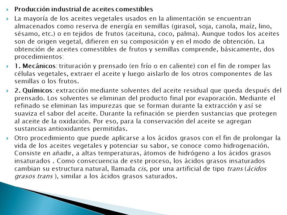 Producción industrial de aceites comestibles