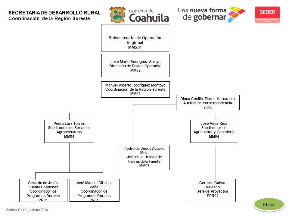 SECRETARIA DE DESARROLLO RURAL Coordinación de la Región Sureste