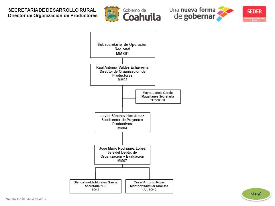 SECRETARIA DE DESARROLLO RURAL Director de Organización de Productores