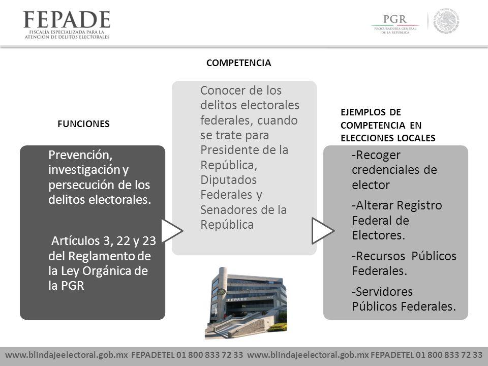 Prevención, investigación y persecución de los delitos electorales.