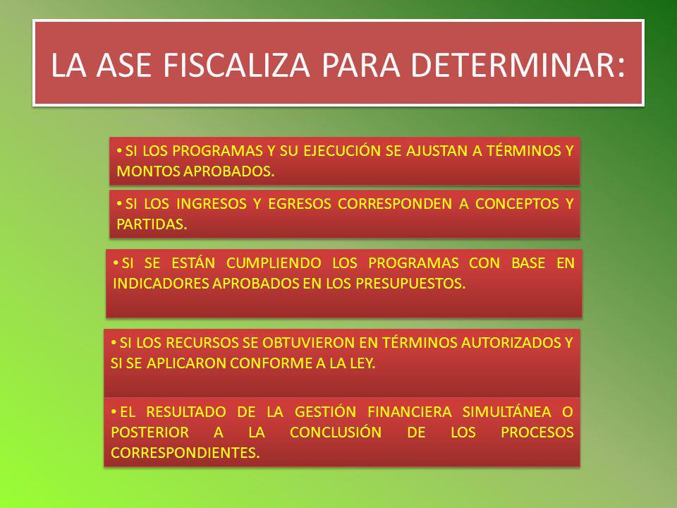 LA ASE FISCALIZA PARA DETERMINAR: