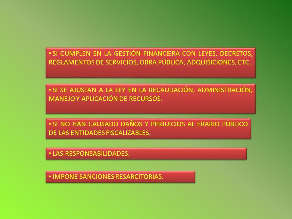 SI CUMPLEN EN LA GESTIÓN FINANCIERA CON LEYES, DECRETOS, REGLAMENTOS DE SERVICIOS, OBRA PÚBLICA, ADQUISICIONES, ETC.