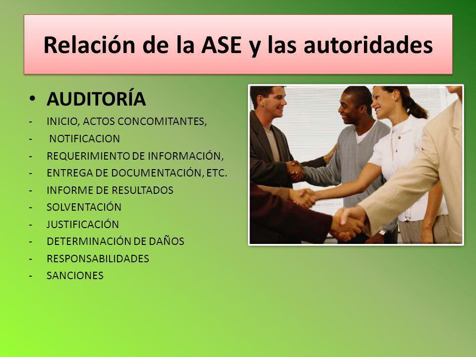 Relación de la ASE y las autoridades